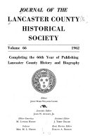 Journal of the Lancaster County Historical Society