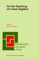 Pdf On the Teaching of Linear Algebra Telecharger