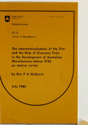 Pdf The Internationalisation of the Firm and the Role of Overseas Firms in the Development of Australian Manufactures Before 1930
