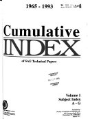 Cumulative Index  of The  SAE Papers Book