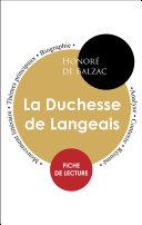 Pdf Fiche de lecture La Duchesse de Langeais (Étude intégrale) Telecharger