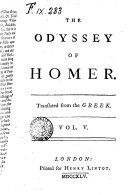 The Odyssey of Homer  Translated from the Greek  Vol  1    5