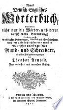 Neues Deutsch Englisches W Rterbuch