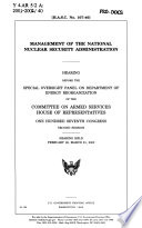 Management of the National Nuclear Security Administration Book