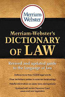 Cover of Merriam-Webster's Dictionary of Law