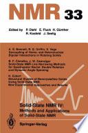 Solid State NMR IV Methods and Applications of Solid State NMR