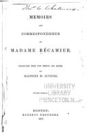 Memoirs and Correspondence of Madame Récamier