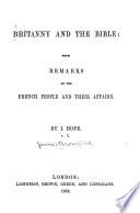 Britanny and the Bible : with remarks on the French people and their affairs