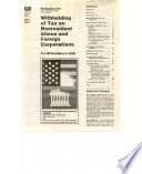 Withholding of Tax on Nonresident Aliens and Foreign Corporations