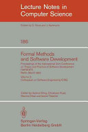 Formal Methods And Software Development Proceedings Of The International Joint Conference On Theory And Practice Of Software Development Tapsoft Berlin March 25 29 1985