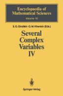 Several Complex Variables IV [Pdf/ePub] eBook