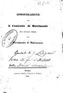 Dimostrazione che il Contratto di Matrimonio deve ritenersi distinto dal Sacramento di Matrimonio