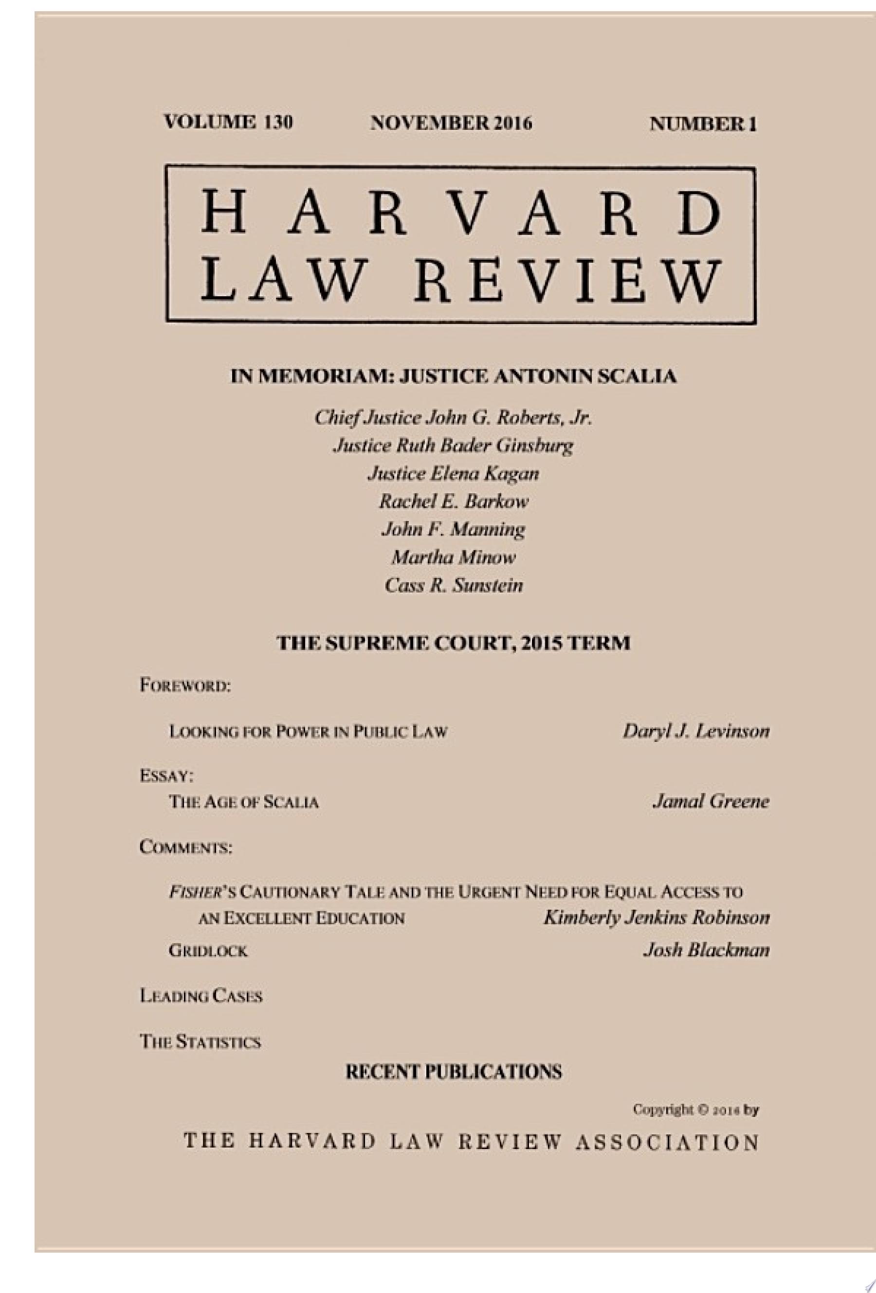 Harvard Law Review  Volume 130  Number 1   November 2016