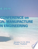 2014 International Conference on Mechanical Design  Manufacture and Automation Engineering  MDMAE2014
