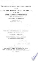... The Artistic and Literary Collections of the Late Evert Jansen Wendell ...