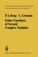 Entire Functions of Several Complex Variables [Pdf/ePub] eBook