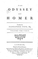 The Odyssey of Homer. Translated by Alexander Pope, Esq; Volume the First [-fifth]