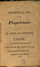 An Alphabetical List of the Proprietors of the Leeds and Liverpool Canal