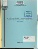 Planned Air Pollution Research Book