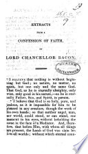 Extracts from a Confession of Faith by Lord Chancellor Bacon