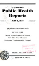 Extracts From Public Health Reports Tuberculosis Control Issue