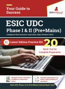 ESIC Upper Division Clerk  UDC   Phase I   II  Recruitment Exam   20 Mock Test