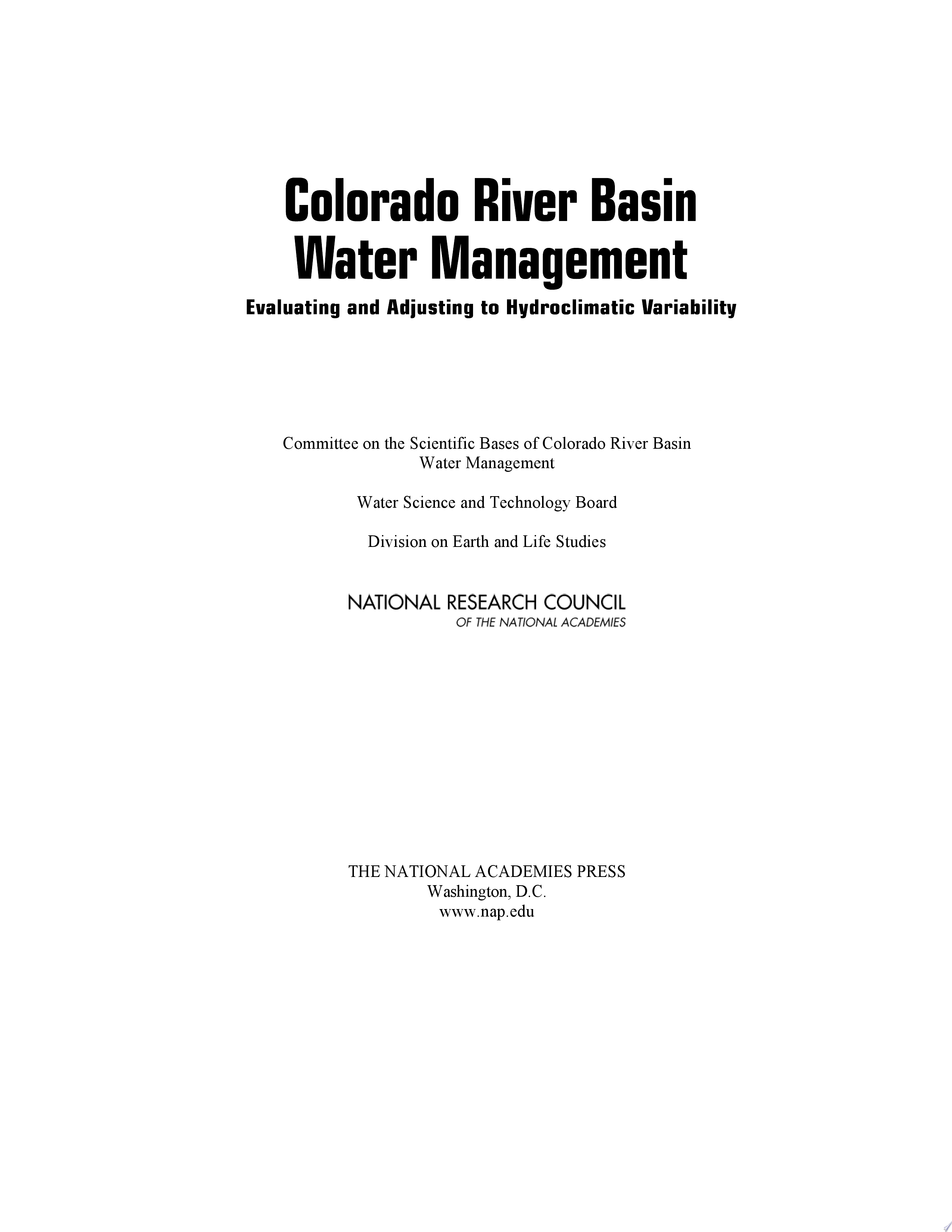 Colorado River Basin Water Management