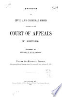 Reports of Civil and Criminal Cases Decided by the Court of Appeals of Kentucky  1785 1951 Book