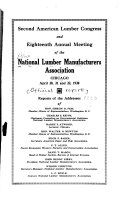 Report Of Annual Meeting Of The National Lumber Manufacturers Association