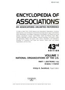 Encyclopedia Of Associations V1 National Org 43 Pt1 Book