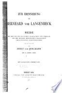 Zur Erinnerung an Bernhard von Langenbeck