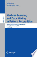 Machine Learning and Data Mining in Pattern Recognition Book