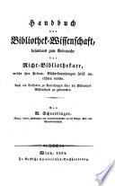 Handbuch der Bibliothek-Wissenschaft (etc.)