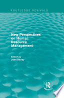New Perspectives on Human Resource Management (Routledge Revivals)