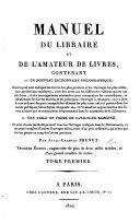 Manuel Du Libraire Et de L'amateur Des Livres