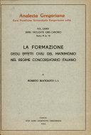La formazione degli effetti civili del matrimonio nel regime concordatario italiano