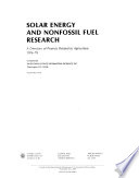 Solar Energy And Nonfossil Fuel Research Book PDF