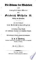 Die Stimme der Wahrheit aus dem göttlichen Worte über Friedrich Wilhelm III König von Preussen