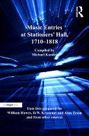 Music Entries at Stationers' Hall, 1710–1818 [Pdf/ePub] eBook