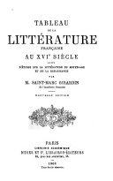 Tableau de la littérature française au XVIe siècle