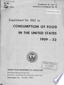 Supplement for ... to Consumption of Food in the United States, 1909-52