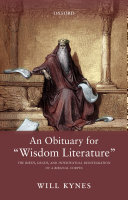 An Obituary for  Wisdom Literature