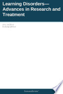 Learning Disorders Advances In Research And Treatment 2012 Edition Book PDF