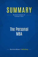 Summary  The Personal MBA
