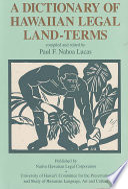 A Dictionary of Hawaiian Legal Land Terms