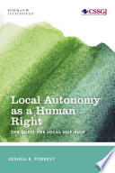Local Autonomy as a Human Right Book