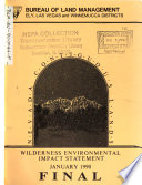 Nevada Contiguous Lands Wilderness  Ely  Las Vegas  Winnemucca Districts Book