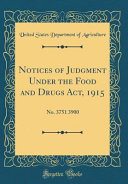 Notices Of Judgment Under The Food And Drugs Act 1915