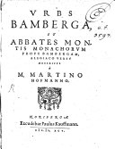 Urbs Bamberga et Abbates montis Monachorum