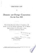 Certified List of Domestic and Foreign Corporations for the Year